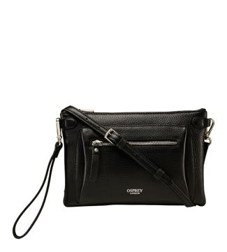 The Ruby Leather Cross-Body Clutch in black | OSPREY LONDON