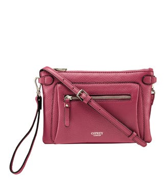 The Ruby Leather Cross-Body Clutch in orchid pink | OSPREY LONDON