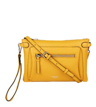 The Ruby Leather Cross-Body Clutch in amber yellow | OSPREY LONDON