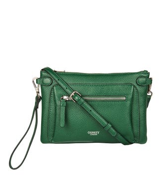 The Ruby Leather Cross-Body Clutch in emerald green   OSPREY LONDON