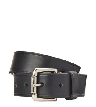 The Santiago 3.5cm Leather Jeans Belt in black | OSPREY LONDON