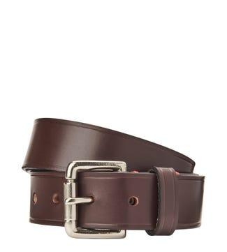 The Santiago 3.5cm Leather Jeans Belt in chocolate | OSPREY LONDON