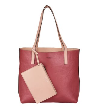 The Sarah Reversible Leather Shoulder Tote in pink   OSPREY LONDON