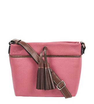 The Savanna Leather Cross-Body in orchid pink | OSPREY LONDON