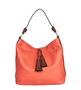The Savanna Leather Hobo in coral | OSPREY LONDON