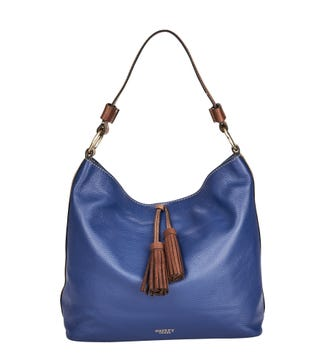 The Savanna Leather Hobo in ink blue | OSPREY LONDON
