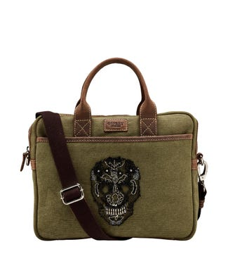 The Small Macbeth Canvas & Leather Laptop Bag in khaki | OSPREY LONDON