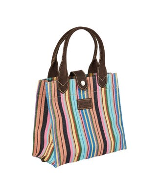 The Small Wells Canvas & Leather Lunchbag Tote in multi stripe Havana | OSPREY LONDON