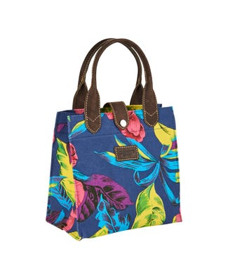 The Small Wells Canvas & Leather Lunchbag Tote in blue Hawaii | OSPREY LONDON