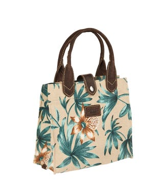 The Small Wells Canvas & Leather Lunchbag Tote in beige Miami | OSPREY LONDON