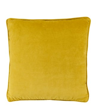 The Square Velvet Cushion yellow ochre| OSPREY LONDON