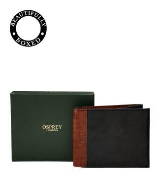 The Stanley Leather E/W Billfold Wallet in black & tan | OSPREY LONDON