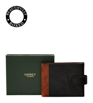 The Stanley Leather Billfold Popper Wallet in black & tan | OSPREY LONDON
