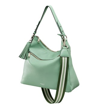 The Stella Leather Hobo in basil green | OSPREY LONDON