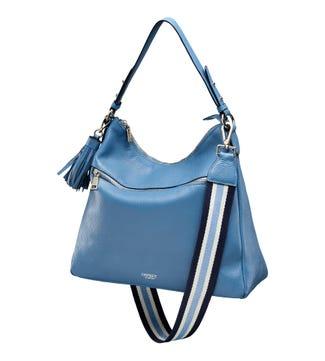 The Stella Leather Hobo in denim blue | OSPREY LONDON