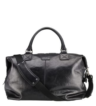 The Stowaway Leather Holdall in black | OSPREY LONDON