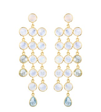 The Vienna Gold and pale gemstone cascade chandelier Earrings | OSPREY LONDON