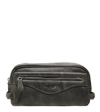 The Walter Leather Washbag in grey | OSPREY LONDON