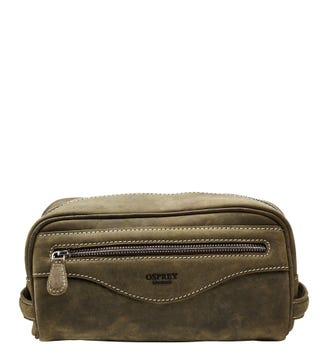 The Walter Leather Washbag in khaki green | OSPREY LONDON