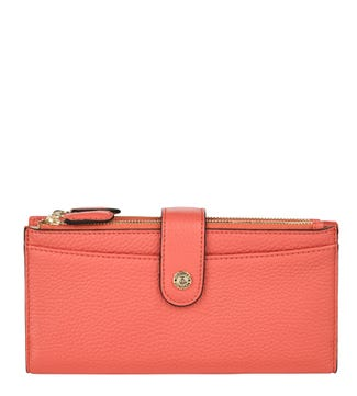 The Winchester Leather Matinee Purse in coral | OSPREY LONDON