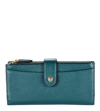 The Winchester Leather Matinee Purse in petrol blue | OSPREY LONDON