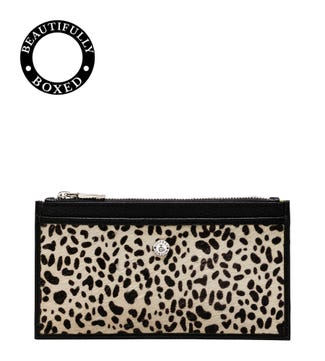 The Winslow Leather Card Pouch in black & white dalmatian | OSPREY LONDON