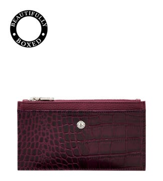 The Winslow Leather Card Pouch in damson | OSPREY LONDON