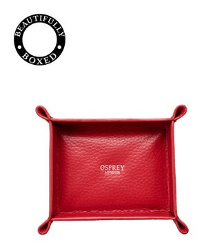 The Small Winslow Padded Leather Jewellery Tray in chilli | OSPREY LONDON
