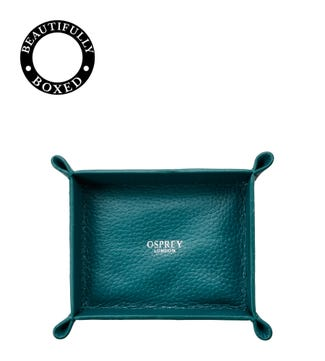 The Small Winslow Padded Leather Jewellery Tray in teal | OSPREY LONDON