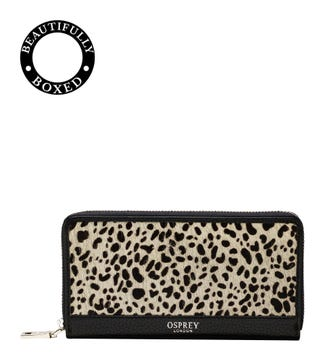 The Large Winslow Leather Zip-Round Purse in black & white dalmatian | OSPREY LONDON