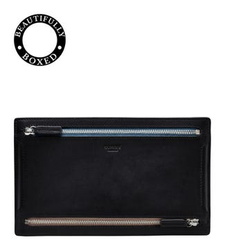 The Pall Mall Leather Zip Travel Pouch in black | OSPREY LONDON