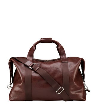 The Toby Leather Weekender in cognac | OSPREY LONDON