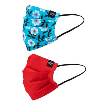 Face Covering Duo Pack in floral & red | OSPREY LONDON