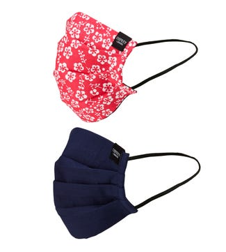 Face Covering Duo Pack in red & navy | OSPREY LONDON
