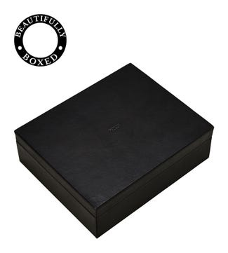 The Vice Deluxe Leather Humidor with Gauge in black | OSPREY LONDON
