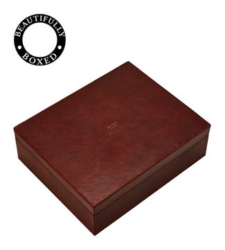 The Vice Deluxe Leather Humidor with Gauge in chocolate | OSPREY LONDON