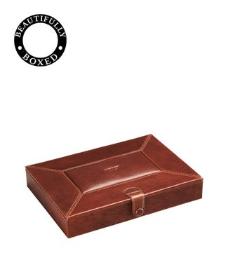 The Vice Leather Humidor in chocolate | OSPREY LONDON