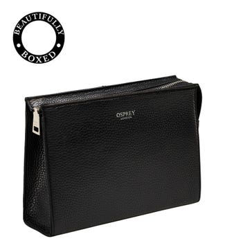 The Winslow Leather Make-Up Bag in black | OSPREY LONDON
