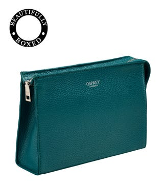 The Winslow Leather Make-Up Bag in teal | OSPREY LONDON