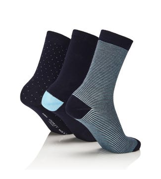 Women's Luxury Bamboo Socks Set of 3 in marine blue & sky blue | OSPREY LONDON