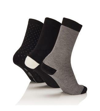 Women's Luxury Bamboo Socks Set of 3 in black & ecru | OSPREY LONDON