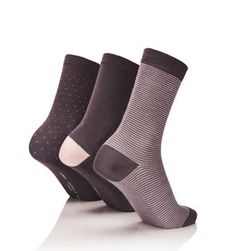 Women's Luxury Bamboo Socks Set of 3 in steel grey & pearly pink | OSPREY LONDON