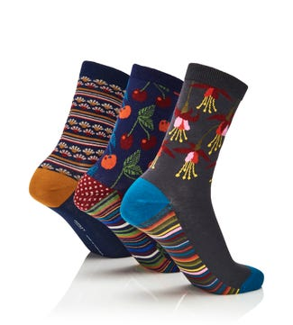 Women's Luxury Cotton Intarsia Socks Set of 3 | OSPREY LONDON