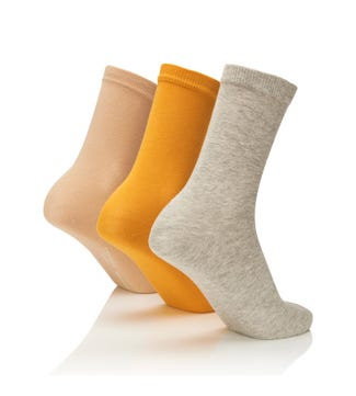 Women's Rainbow Luxury Cotton Rich Socks Set of 3 Coastal in grey marl & yellow & sand | OSPREY LONDON