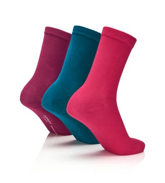 Women's Rainbow Luxury Cotton Rich Socks Set of 3 Jewel in fuchsia & teal & violet | OSPREY LONDON