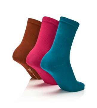 Women's Rainbow Luxury Cotton Rich Socks Set of 3 Jungle in teal & fuchsia & burnt orange | OSPREY LONDON
