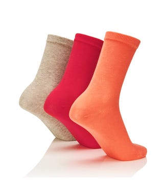 Women's Rainbow Luxury Cotton Rich Socks Set of 3 Springtime in coral & pink & grey marl | OSPREY LONDON