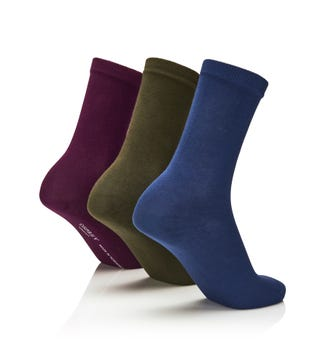Women's Rainbow Luxury Cotton Rich Socks Set of 3 Wimbledon in indigo & olive & purple | OSPREY LONDON