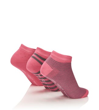 Women's Luxury Bamboo Trainer Socks Set of 3 in grey & pink| OSPREY LONDON