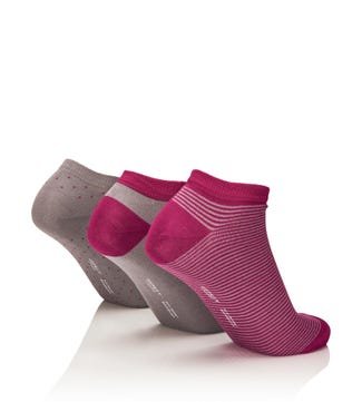 Women's Luxury Bamboo Trainer Socks Set of 3 in grey & ruby | OSPREY LONDON